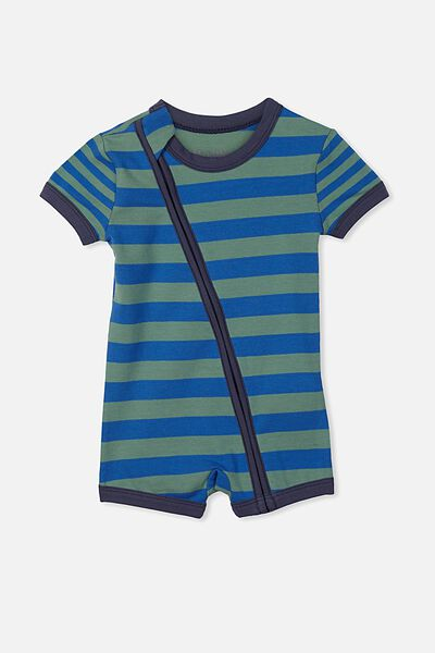 Mini Ss Zip Through Romper, SCUBA BLUE/GABBY GREEN STRIPE