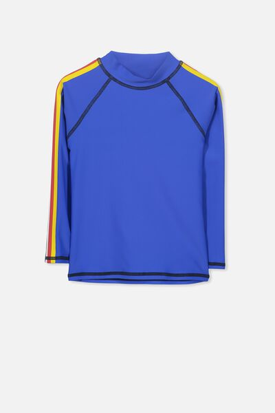 Fraser Long Sleeve Rash Vest, ULTRA BLUE/STRIPE PANEL SLEEVE