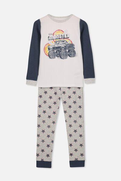 Jack Boys Long Sleeve Waffle Pyjama Set, MONSTER TRUCK