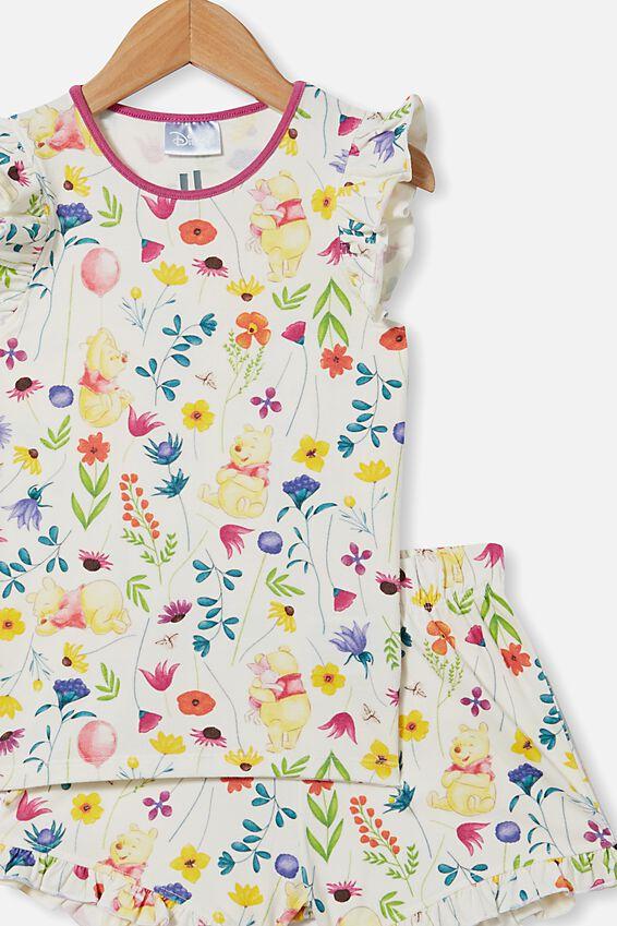 Stacey Flutter Short Sleeve Pyjama Set Licensed, LCN DIS WINNIE THE POOH FLORAL/VANILLA