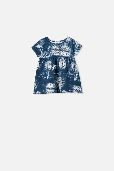 Milly Short Sleeve Dress, NAVY BLAZER/TIE DYE
