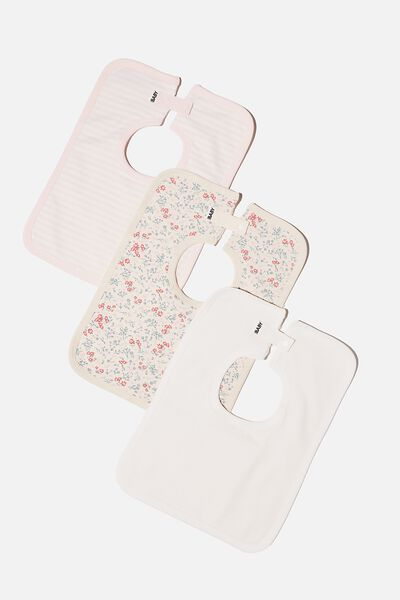 3 Pack Darcey Square Bib, MAUDE FLORAL/VANILLA/CRYSTAL PINK STRIPE