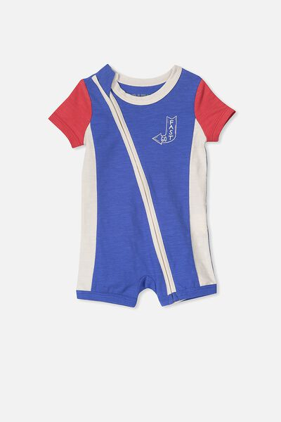 Mini Short Sleeve Zip Through All In One, SCUBA BLUE/FAST