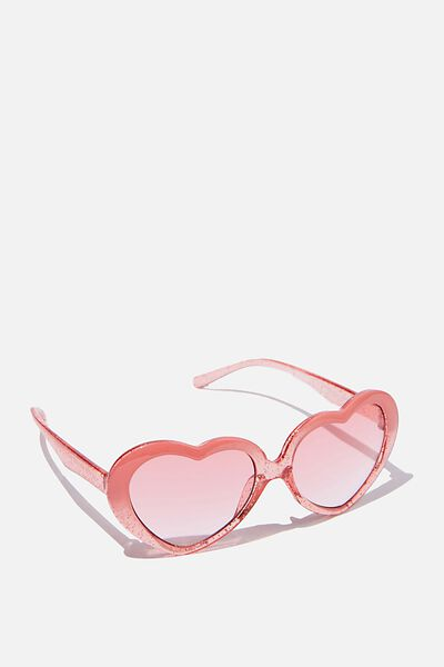 Kids Retro Sunglasses, TRANSPARENT PINK GLITTER HEART