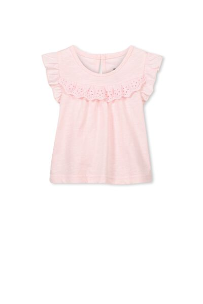 Kourtney Flutter Top, BUBBLEGUM PINK