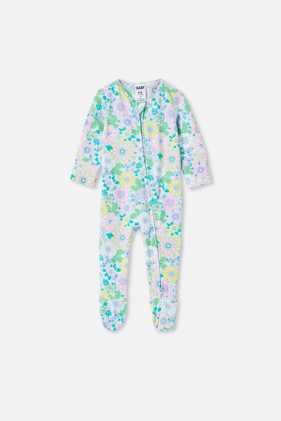 The Long Sleeve Zip Romper, FROSTY BLUE/BLUE BIRD RETRO FLORAL