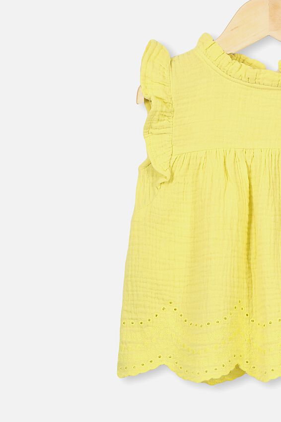 Jan Flutter Sleeve Dress, LEMON DROP