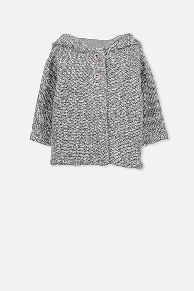 Taylor Hooded Knit, CHARCOAL MARLE