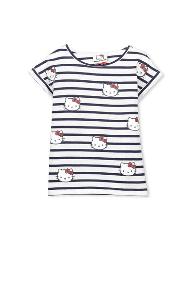 Girls Hello Kitty Stripe Short Sleeve Tee, HELLO KITTY SPARKLE/STRIPE