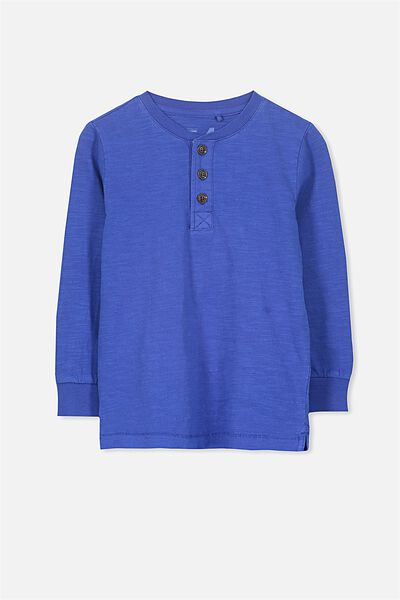 Bentley Henley Long Sleeve Tee, BLUE SLUB GD/SIS CUFF