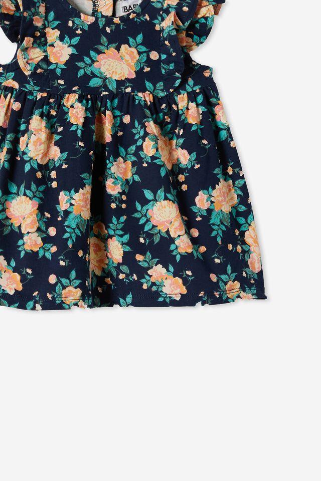 Megan Sleeveless Ruffle Dress, INDIGO/RETRO CORAL WHITBY FLORAL