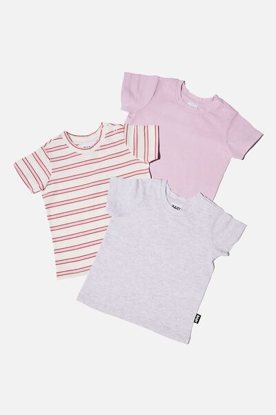 3 Pack Jamie Short Sleeve Tee, PALE VIOLET STRIPE/CLOUD MARLE/PALE VIOLET