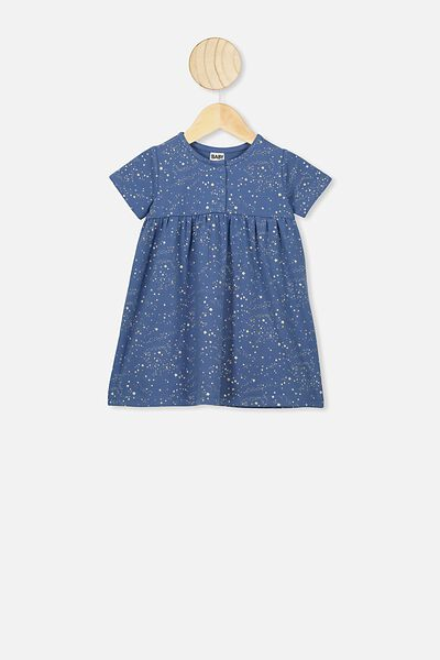 Milly Short Sleeve Dress, PETTY BLUE/SCATTER STARS