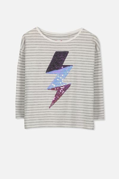 Anna Long Sleeve Tee, VANILLA/LIGHT GREY MARLE STRIPE/LIGHTENING