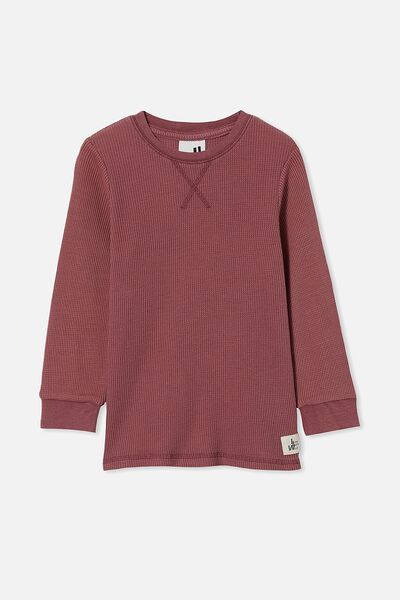 Long Sleeve Waffle Pull Over, VINTAGE BERRY SNOW WASH