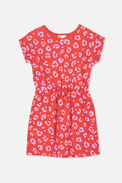 Sibella Short Sleeve Dress, FLAME SCARLET/ANIMAL