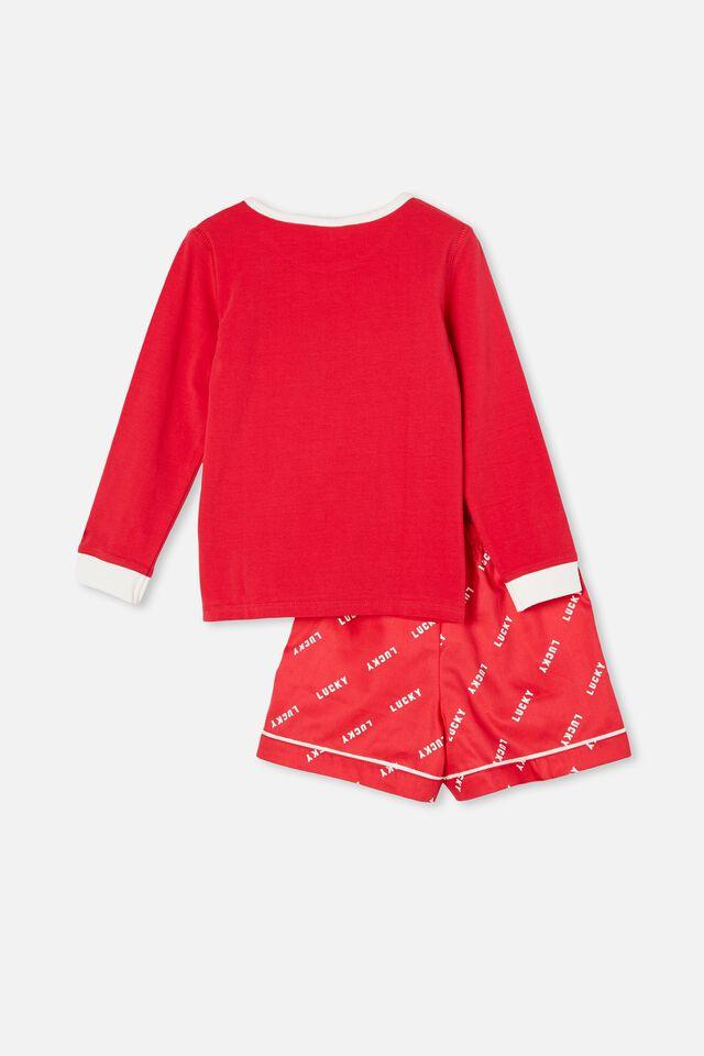 Harry Knit Woven Long Sleeve Pyjama Set, LUCKY CAT / LUCKY RED