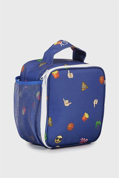 Emoji Personalised Lunch Bag, BLUE MIXED EMOJI PERSONALISED