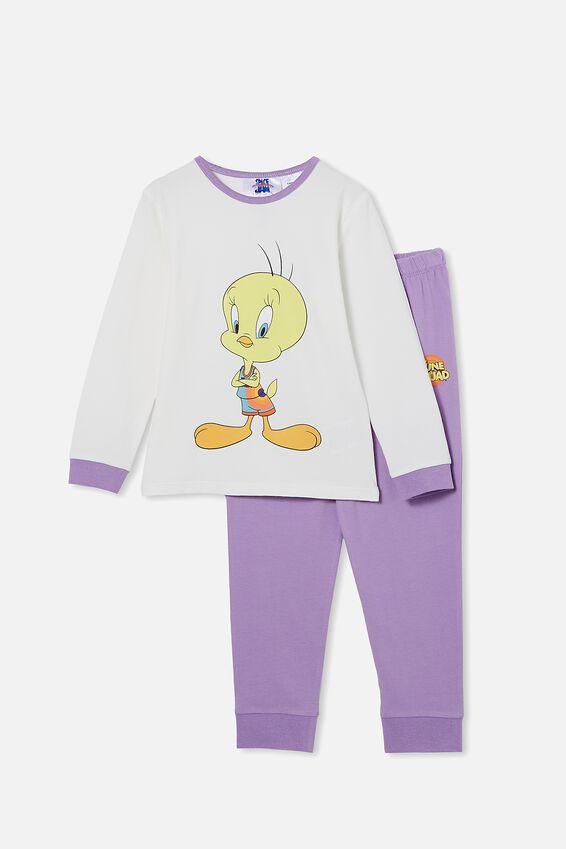 Space Jam Florence Long Sleeve Pyjama Set, LCN WB SPACE JAM TWEETY BIRD GRAPE SODA
