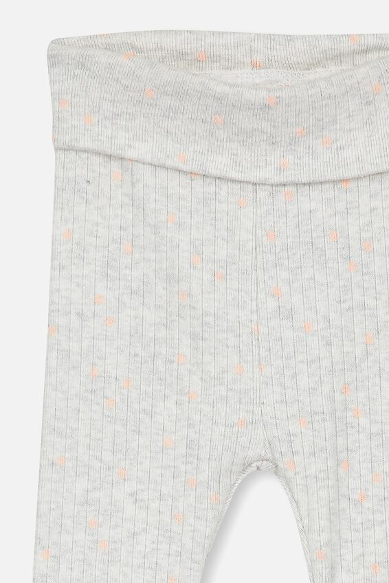 Newborn Legging, KATE SPOT SOFT GREY MARLE/PEACH