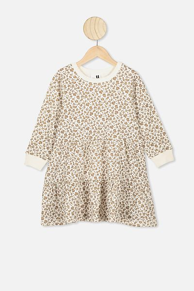 Angie Long Sleeve Dress, DARK VANILLA/SNOW LEOPARD