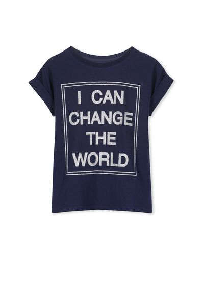 Penelope Short Sleeve Roll Up Tee, PEACOAT/I CAN CHANGE THE WORLD