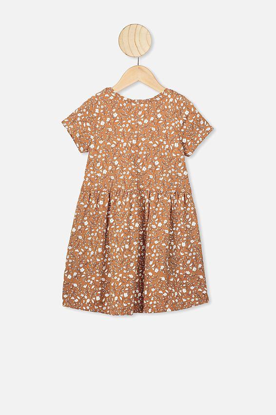 Freya Short Sleeve Dress, AMBER BROWN/SPRIGGY FLORAL