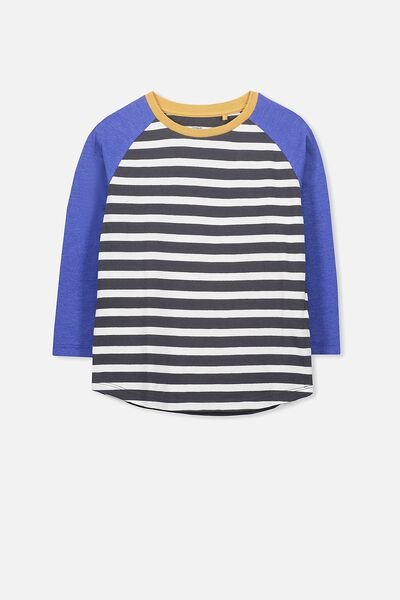 Tom Long Sleeve Tee, SCUBA BLUE SPLICE STRIPES/RAGLAN