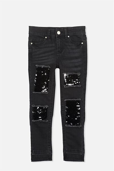 Mia Sequin Patch Jean, BLACK/SEQUIN PATCHES
