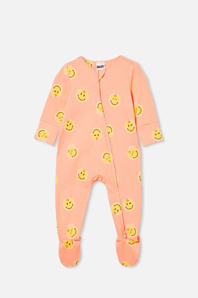 The Long Sleeve Zip Romper Lcn, LCN SMI MUSK MELON/SMILEY BABY