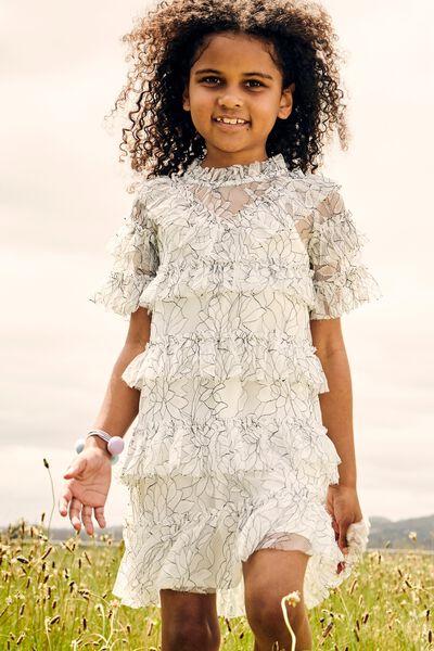 Alice Mccall/Short Sleeve Ruffle Dress, VANILLA