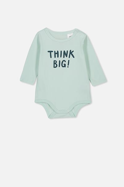 The Long Sleeve Bubbysuit, MINTY BLUE/THINK BIG