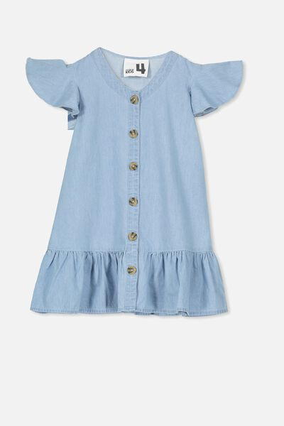 Lola Short Sleeve Dress, LIGHT WASH