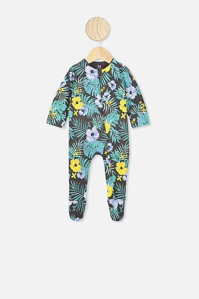 The Long Sleeve Zip Romper, PHANTOM/TROPICAL
