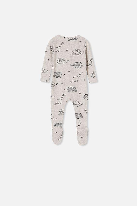 The Snug Long Sleeve Zip Romper, CLOUD MARLE/GRAPHITE DINO MAMMOTH