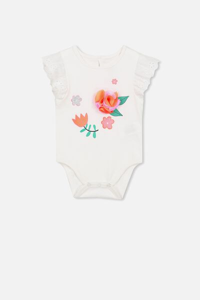 Elsa Broidery Flutter Bubbysuit, VANILLA/FLORAL APPLIQUE