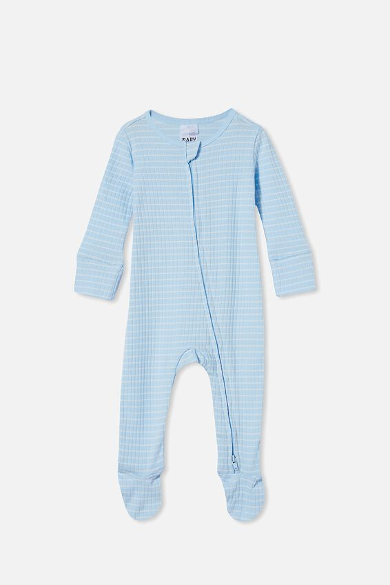 Organic Newborn Zip Through Romper, WHITE WATER BLUE/MILK SALLA STRIPE