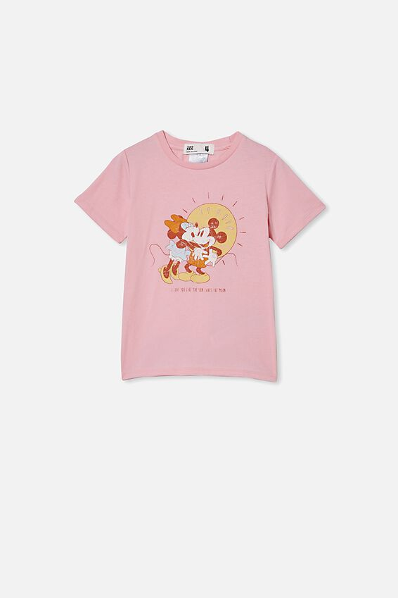 License Short Sleeve Tee, LCN DIS MARSHMALLOW/MICKEY AND MINNIE SUN
