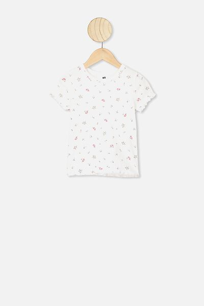 Billie Short Sleeve Tee, VANILLA FLORAL FIELDS
