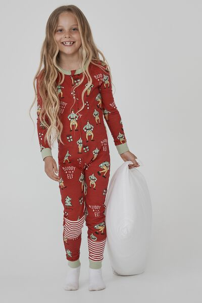 Kids Unisex Snug Long Sleeve All In One Licensed, LCN WB BUDDY THE ELF LUCKY RED