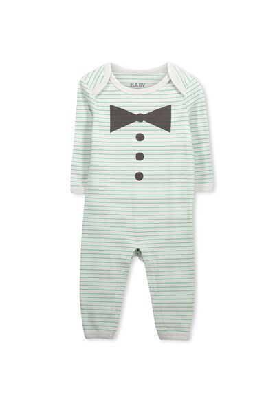 Mini Snap Romper, LUNA ROCK GREEN STRIPE/CLOWNING AROUND