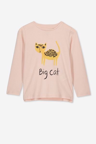 49795ff5e Penelope Long Sleeve Tee, PEACH WHIP/BIG CAT/SET IN. Cotton On Kids