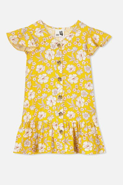 Lola Short Sleeve Dress, GOLDEN/RETRO FLORAL