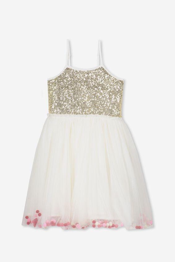 Iris Tulle Dress, VANILLA ICE/POM POMS