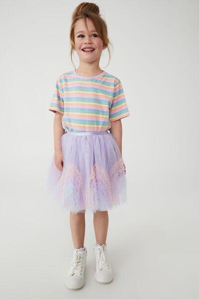 Trixiebelle Dress Up Skirt, SMOKEY LILAC/RAINBOW RUFFLE