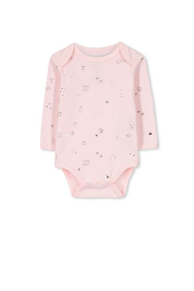 Mini Long Sleeve Bubby, ESSENTIAL PINK/FOIL HEART