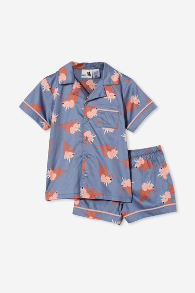 Pete Short Sleeve Pyjama Set, DINO PARTY/STEEL