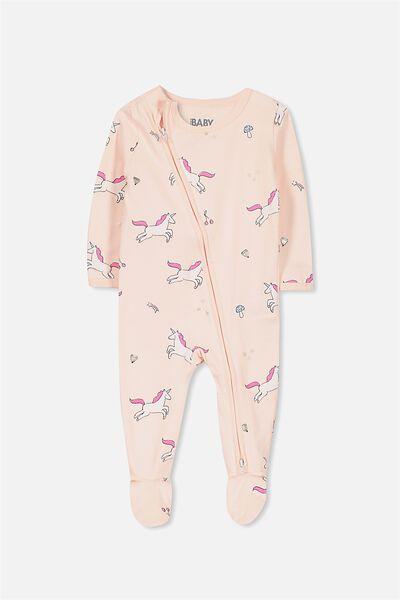 Sleep Mini Zip All In One Jumpsuit, SHELL PEACH/UNICORN