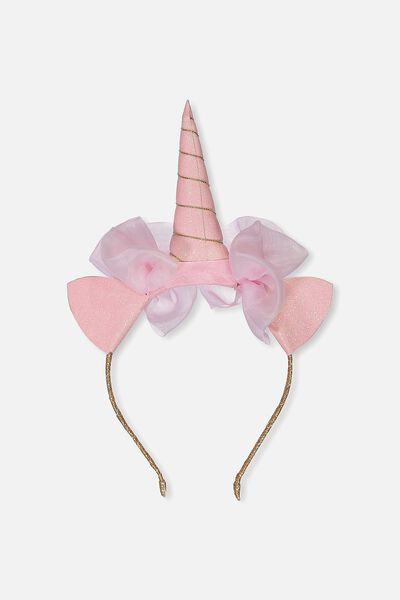 Unicorn Bow Headband, FAIRY TALE PINK