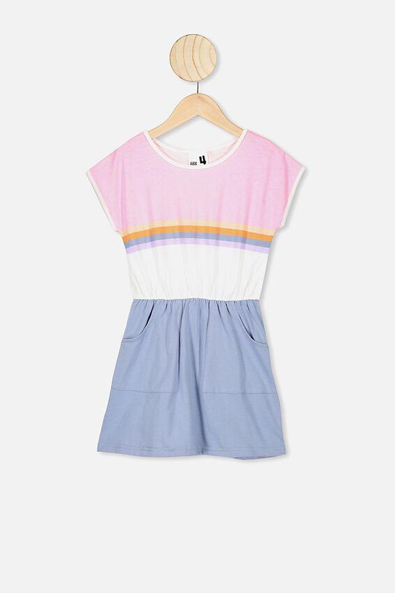 Sigrid Short Sleeve Dress, CALI PINK/DUSTY BLUE SPLICE